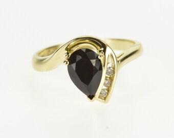 10K Pear Cut Black Onyx Diamond Accent Freeform Ring Size 7 Yellow Gold