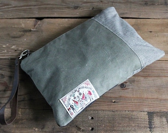 Recycled military canvas, large clutch, eco vintage fabrics