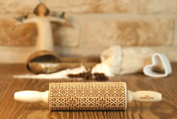 Alhambra Andalusia 2 MIDI Rolling Pin, Engraved Rolling, Rolling Pin, Embossed rolling pin, Wooden Rolling pin, Kids' toys