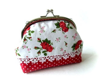 Frame purse, red flower frame bag, makeup bag, kiss lock clasp bag, silver purse frame, flower pouch