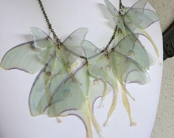 I Will Fly Away - Handmade Luna Moth (Actias Luna) Silk Organza Butterflies Moths and Wings Necklace - New Version