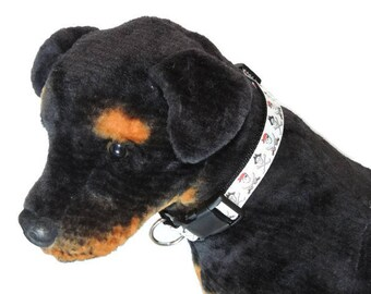 Jolly Roger Pirate Adjustable Dog Collar- Nylon, Webbing, Durable