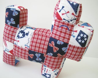 Baby Patchwork Scottie Dog: 4th of July Kite and Ribbons