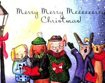 Colourful Characters Make a Joyful Noise !~Watercolour Cards~Christmas Cards~Winter Cards~~Animal Cards~Singing~Cute~Charming~Whimsical