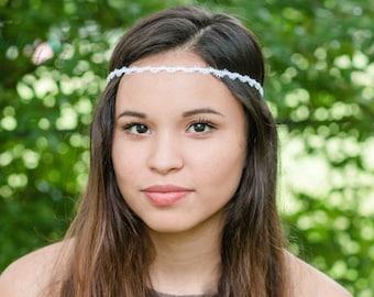 White Boho Headband - Bohemian Headband - Boho Headband - Forehead Headband - Halo Headband - Adult Boho Headband - Bridal Boho Headband