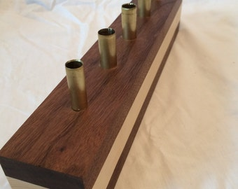 Modern Walnut and Maple Wood Pen Holder