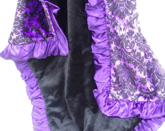 Purple Damask and Black Minky Baby Blanket