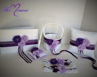 Purple and White Wedding Set, Flower Girl Basket, Ring Bearer Pillow, Garter, Purple Wedding Accessories, Customizable