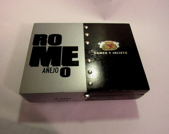 """JEWELRY Cigar Box Really Neat Up Cycled  """" Romeo Anejo """" Jewelry Watch Box  Silver Studs, Nut Feet & Handle. Great Gift!"""