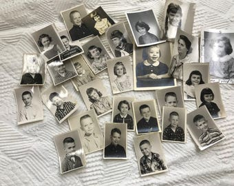Lot of 29 Vintage Black and White Photographs School Pictures Children