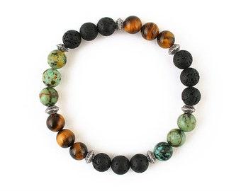 Men bracelet Multistone bracelet Volcano rock bracelet Tiger eye bracelet African turquoise Stylish men bracelet unique men bracelet for him