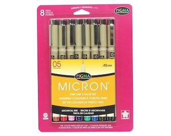 Sakura Pen Marker Set 05, Pigma Micron Ink, Colored, 0.45mm Nib, Tip; Sakura 8 Book Coloring, Bible Journaling, Diary, Planner, Drawing Pens