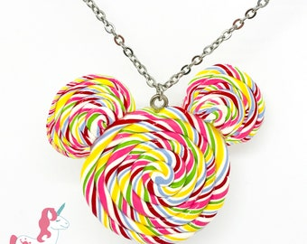 Mickey Mouse lollipop shaped necklace Disney inspired pendant