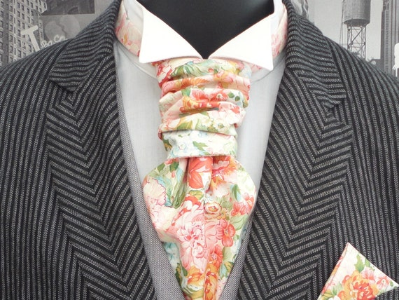 Wedding cravat/ascot, scrunchy wedding cravat, blush and peach floral scrunchy cravat