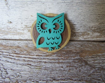 Turquoise Blue Wood Owl Magnet Whimsical Wood Laser Cut Cottage Kitchen Traditional Farmhouse Children MidCentury Style Ready to Ship M-5