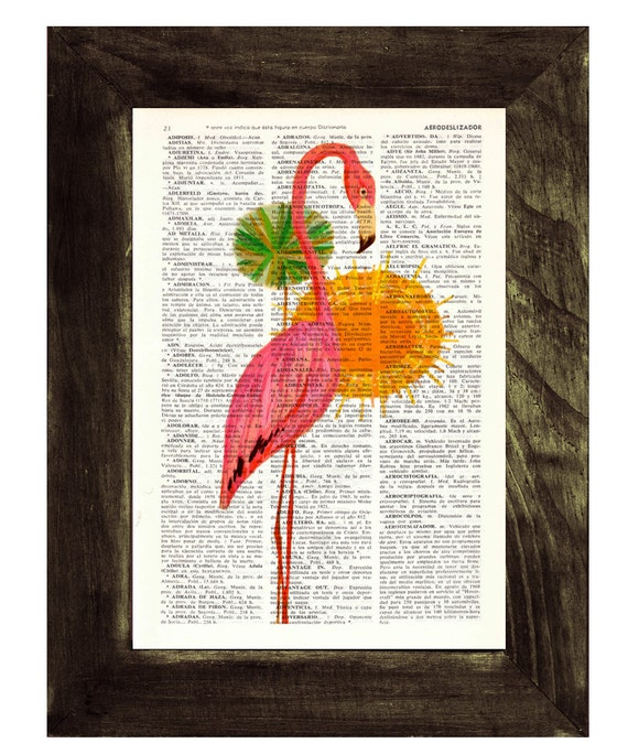 Pink Flamingo vintage wall art  Dictionary Book Print  Altered art on upcycled book pages ANI176