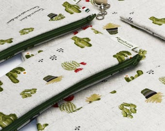Linen Window Cactus, Reusable Snack Bags, Zippered Pouch, Waterproof pouches, Pouch Set, Snack & Sandwich Bags, Back to school, Floral pouch