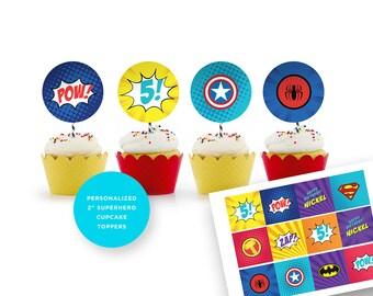 Superhero Cupcake Toppers. Superhero Birthday Party. Superhero Party supplies. Avengers Party. Justice Ligue.