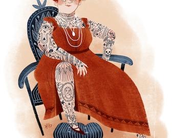 8x10 Tattooed Victorian Lady Illustration