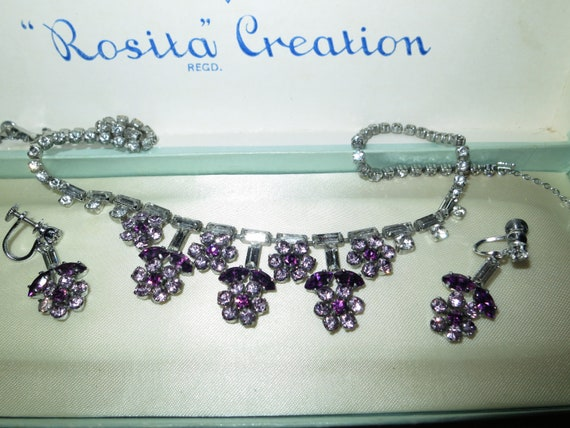 Fine quality vintage silvetone purple & clear rhinestone necklace and earrings
