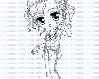 Digital Stamp-Sweet Cheeks(#53), Digi Stamp, Coloring page, Printable Line art for Card and Craft Supply, Art by Mi Ran Jung