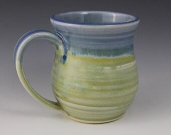 Handmade Ceramic Mug, Green, Blue, Birthday gift, mothers day, IN STOCK, ready to ship