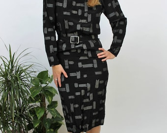 1980s Black/Silver Dash Print Wiggle Dress Size UK 6/8, US 2/4, EU 34/36
