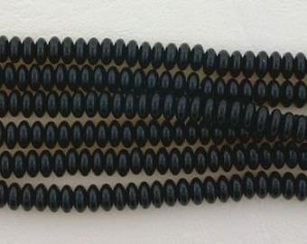50 czech jet black 4mm rondelle spacer beads