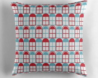 Blue cushion cover, Red cushion, Blue geometric cushion, Cushion cover 16x16, Blue cushions, geometric cushion, Blue throw pillows, Cushion
