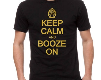 BoozeHarder - Keep Calm And Booze On t-shirt Gold Edition
