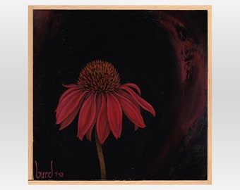 Twilight Echinacea - Original Oil Painting on Wood 8x8