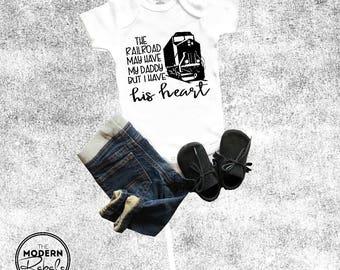 Railroad baby onesie® Baby Shower Gift Trains Toddler Baby Boy Girl Newborn Onesie® Birthday Party Gift Baby Clothing Train Onesie®