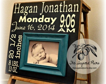 Baby Gift, Baby Birth Stats, Birth Announcement, Baby Boy, Baby Girl, Baptism, Christening, Godchild, Picture Frame, 16x16 The Sugared Plums
