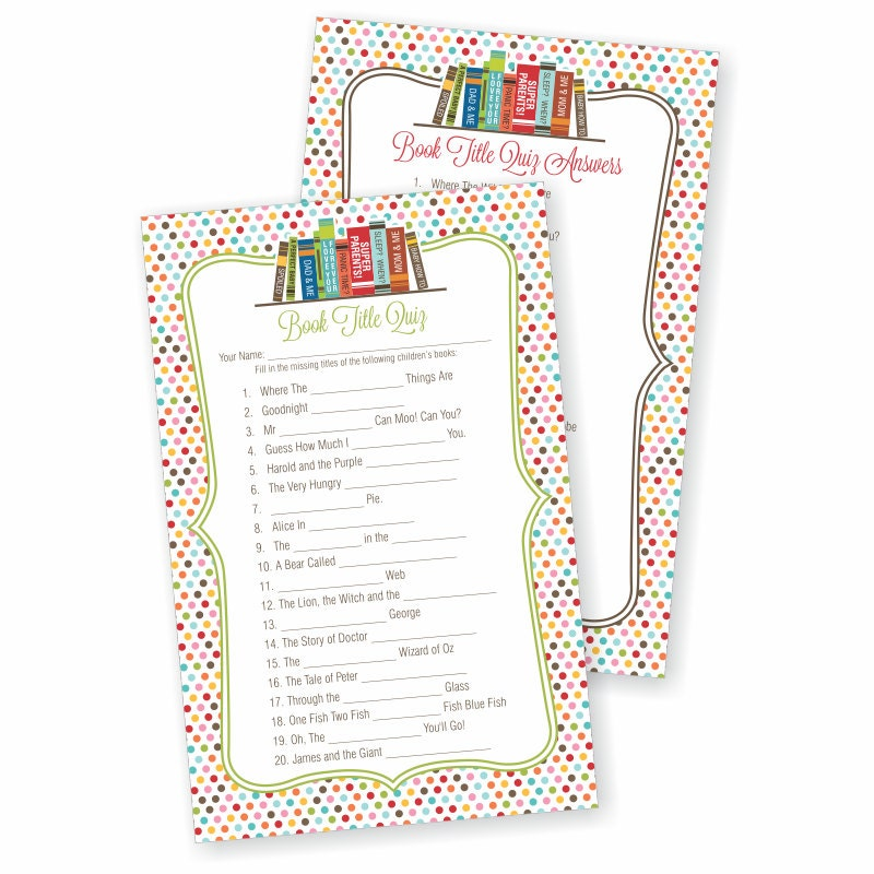Book Baby Shower Game Printable Book Theme Story Book Games