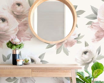 Floral Wallpaper Mural, Spring Flowers, Flower Extra Large Wall Art, Peel and Stick Wall Poster