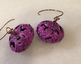 Fuschia Patina  Copper Filigree Gypsy Dangle Earrings  Boho Earrings   Moroccan  Wedding Jewelry