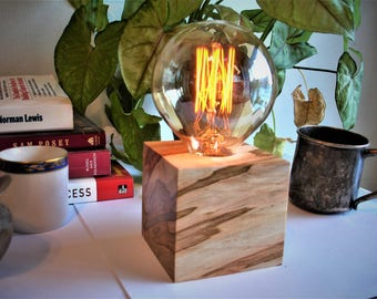 Almost Breathtaking Ambrosia Maple Cube Table Lamp With An IN LINE DIMMER Switch And
