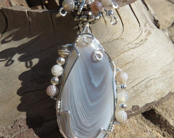 S-69 Botswana Agate Wirewrapped Pendant Sterling Silver, Agate Pendant, Agate Necklace, Gemstone Pendant, Gemstone Necklace