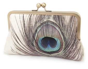 Peacock clutch purse, peacock feather bag, teal, bridesmaid gift, printed silk, gift box