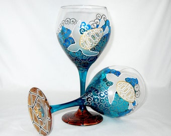 Sea Turtle Wine Glass Beach Wedding Glassware Hand Painted Personalized Coastal Home