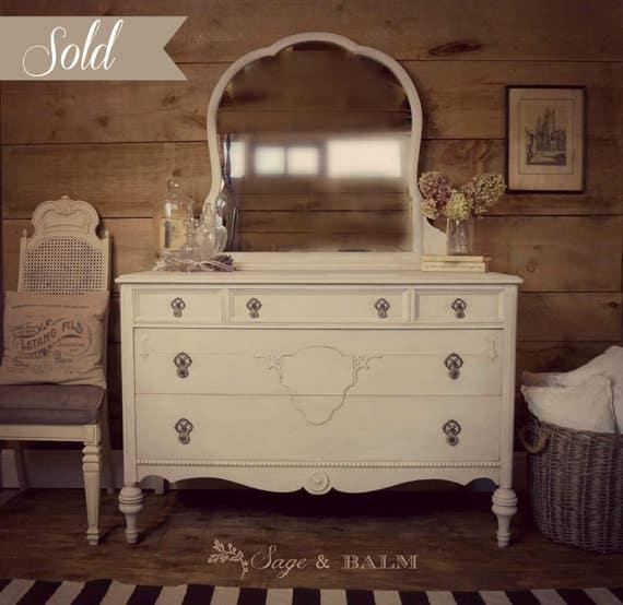 Sold Cream Amp Grey Gustavian Painted Antique Dresser Shabby