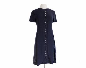 Vintage 90s GENNY Designer Italian navy dress/ dark blue dress/ paisley and dotted diamond panels