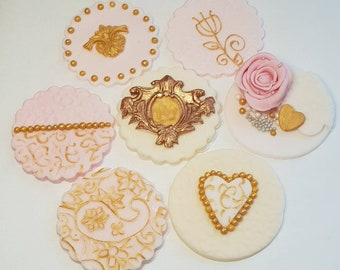 Pink, gold and cream cupcake toppers