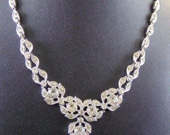 Vintage Signed Bogoff Clear Rhinestone Necklace and Screwback Earrings Set in Original Box
