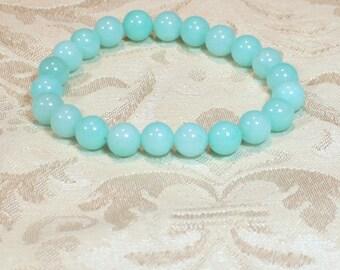 Blue Amazonite  Gemstone Stretch Bracelet