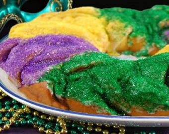 NOLA Mardi Gras King Cake Huge PARTY PACK 12 Beads, 12 Dabloons 12 Mask, 12 Tattoos 1 King Cake Baby