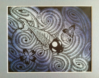 Koi Fish  Lino Block Print 8x10 blended blue & white