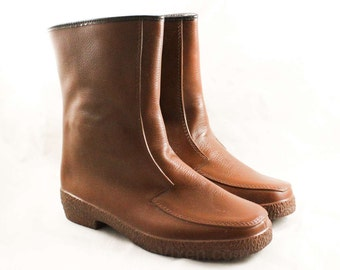 Boys Brown Galoshes - Big Boy's Size 5 - Authentic 1960s Boot - Child's 60s Rain Boots - Waterproof Rubber Shoes - NOS Deadstock - 47226-1
