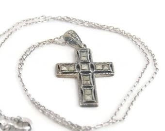 Sterling Silver Marcasite Cross Necklace, Sterling Silver Necklace, Marcasite Necklace, Sterling Cross, Religious Jewelry, Cross Pendant 925