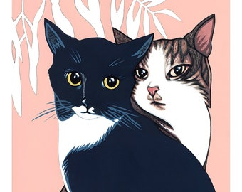 LOVECATS 8x10 (Giclée Art Print of Original Gouache Pet Cat Portrait Painting on Paper)